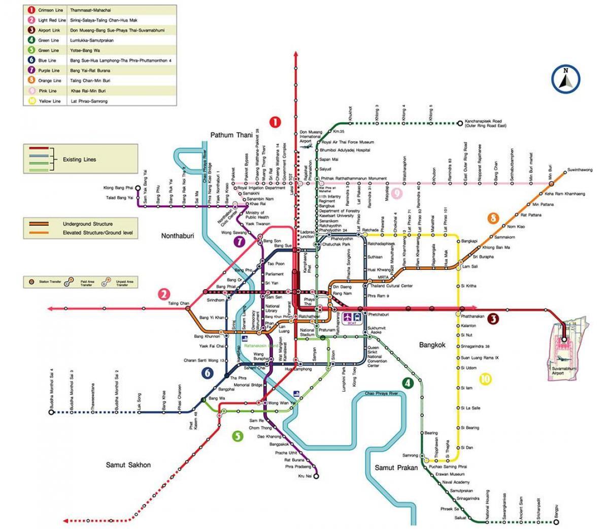 Metro Bangkok Map Bangkok Metro Station Kartta Thaimaa